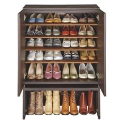 ちょい置きした靴を隠せるフラップ扉付きシューズボックス ロー・幅73cm (イ)ダークブラウン(木目) 収納目安=約24足