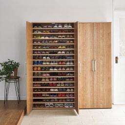 棚板たっぷり大容量シューズボックス 幅90cm コーディネート例(ア)ブラウン