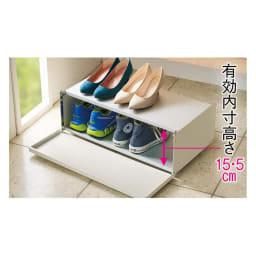 前板が手前に開いて出し入れラクラク 下駄箱下シューズ片付けワゴン 幅80cm 棚板をフラットにすれば下段に高さのある靴が収納できます。 ※写真は幅60cmタイプです。