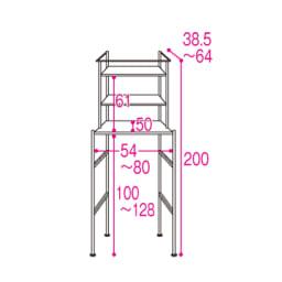 奥行たっぷり ステンレス棚の洗濯機ラック 棚3段 幅60~89cm 洗濯機対応内寸・・・幅54~80、高さ128cmまで 棚板は7cmピッチで可動できます。(※洗濯機対応内寸高さ128cmまでです。)
