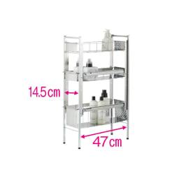 ステンレス洗濯機サイドラック 3段 幅20.5cm高さ80.5cm 2段目は高さが3段階に調節可能です。 ※赤文字は内寸
