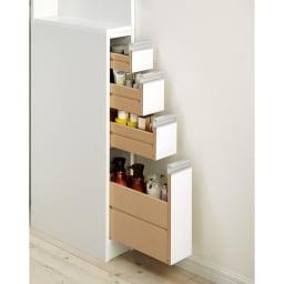 取り出しやすい2面オープンすき間収納庫 奥行44.5cm・幅12cm 引き出しはコスメ類や小物の収納に便利。