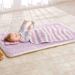 医療用の脱脂綿とガーゼを使ったカラフルパシーマ pasima (R)ベビー 肌掛けシーツ 大小2枚セット (ア)ピンクボーダー ※洗濯後の商品で撮影しています。※枕はセットに含まれません。