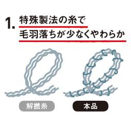 あたたかコットンタオルケット コットン解撚糸にポリエステルを巻いた特殊糸を使用。ふんわりボリュームがあるのに毛羽落ちしにくく、やわらかな肌ざわりです。