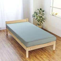 スーピマ超長綿を贅沢に使用したサテン織り  ベッドシーツ (オ)サンドグリーン