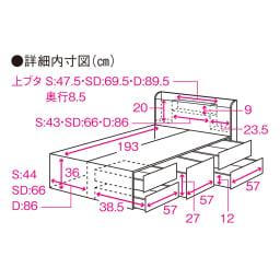 寝そべりながらタブレットが使えるベッド ポケットコイルマットレス(厚さ19cm)付き サイズ詳細図