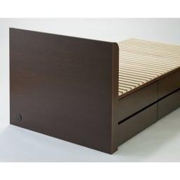 布団が使える洋服たんすベッド ヘッド付き(高さ80・床面まで41cm) ヘッドボードの背面は美しい化粧仕上げ。自由なレイアウトで設置できます。