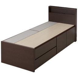 国産マットレス付き棚付省スペースベッド(ショート/レギュラー) ダークブラウン