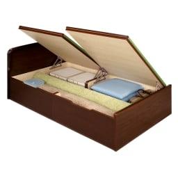 絨毯のような長いモノも収納できる!跳ね上げ式収納畳ベッド ヘッド付き(高さ80・床面まで41cm) 畳床板部が左右別々に開閉できます。 写真はヘッド付きセミダブルサイズです。