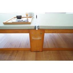 畳空間を簡単に演出できる折りたたみベッド ハイタイプ(棚なし) 取っ手のアップ