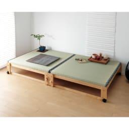 畳空間を簡単に演出できる折りたたみベッド ハイタイプ(棚なし) 畳スぺ―スが簡単にできる折りたたみベッドです。 ※写真はワイドシングルです。