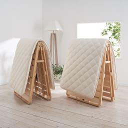 ぴったり並べられる折りたたみ ひのきすのこベッド お得な2台セット 左から幅80cmタイプ、幅108cmタイプ