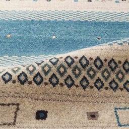 ベルギー製ウィルトン織りラグ〈ジーバ〉 (イ)ブルー系