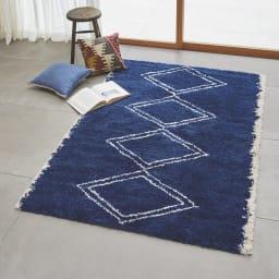ベルギー製ウィルトン織りラグ〈アニュラ〉  (イ)ネイビー系・約135×190cm