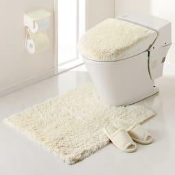 PLYS(プリス)乾度良好トイレタリー フタカバー(洗浄暖房器用) コーディネート例(オ)アイボリー系 ※お届けはフタカバーです。