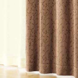 リーフ柄 形状記憶加工 多サイズ・多機能カーテン 幅100cm(2枚組) (イ)ブラウン