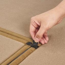 ふっくらい草ラグ/掘りごたつ用ラグ [裏面]センター部分を裏の面テープで本体に装着すれば、ズレることなく、普通のラグとしても使えます。