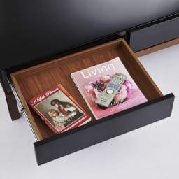 光沢が美しい 北欧風ナチュラルモダン リビング収納シリーズ  センターテーブル 奥行の深い引き出しには、雑誌もすっきり収納できます。