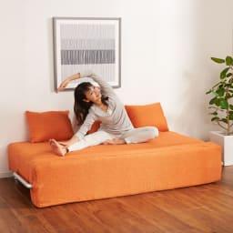 簡単にベットに変身!壁につけたまま使えるソファベッド 幅172cm 広々の座面でストレッチなども!