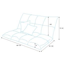 マルチリクライニング コンパクトソファ(座椅子) スタンダードタイプ 詳細図(単位:cm)