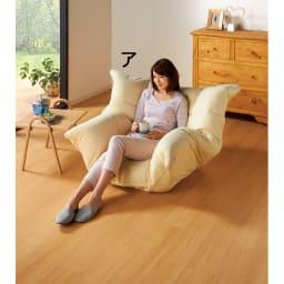 マルチリクライニング コンパクトソファ(座椅子) ハイバックタイプ 背もたれが低めで圧迫感のないスタンダードタイプ。   (アイボリー)