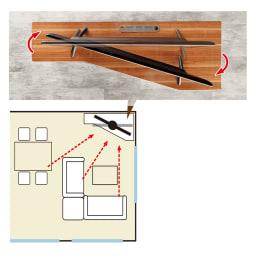 住宅事情を考えたコーナーテレビボード 幅123.5cm・左コーナー用(左側壁用) 広い角度からテレビが見やすい!テレビはコーナーに置きたいというお客様のご要望から生まれました。ソファから、ダイニングからと、いろいろな場所から見やすい設計です。