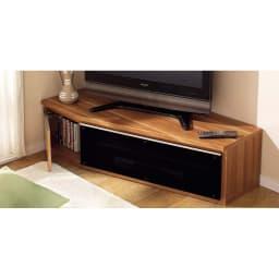 住宅事情を考えたコーナーテレビボード 幅123.5cm・左コーナー用(左側壁用) (ウ)ライトブラウン テレビの指定席はやっぱりコーナー