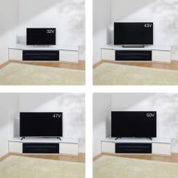 住宅事情を考えたコーナーテレビボード 幅165cm・左コーナー用(左側壁用) テレビ台とテレビのバランス参考。※テレビメーカーによって同じインチ数でもサイズがことなります。ご使用のテレビサイズをご確認ください。