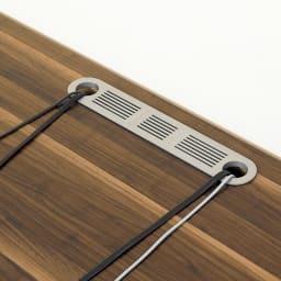 住宅事情を考えたコーナーテレビ台 ハイタイプ 幅123.5cm・ 右コーナー用(右側壁用) 天板の中央奥に配線用コード穴付き。