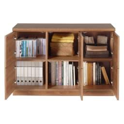 天然木調テレビ台シリーズ スクエアキャビネット 6枚扉 幅113高さ75.5cm DVD・A4サイズのファイル・雑誌などいろいろと収納できます。