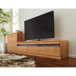 天然木調テレビ台シリーズ スクエアキャビネット 6枚扉 幅113高さ75.5cm コーディネート例
