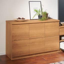 天然木調テレビ台シリーズ スクエアキャビネット 6枚扉 幅113高さ75.5cm 高さ75.5cmと低めなので、部屋を広々とみせます。
