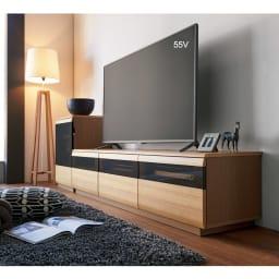 オーク材アールデザインシリーズ テレビ台 幅120cm コーディネート例(ア)ナチュラル ※写真のテレビ台は幅180cmタイプです。