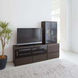 ダイニングテーブルからも見やすいミドルテレビ台シリーズ キャビネット幅60cm (イ)ダークブラウン ※写真は(左)テレビ台幅120、(右)キャビネット幅60です。