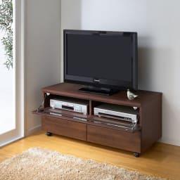 アルダー天然木ユニットボード キャスター付きテレビ台 幅106cm (イ)ダークブラウン デッキ収納部オープン時