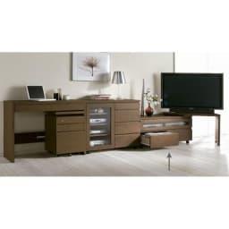 アルダー天然木ユニットボード キャスター付きテレビ台 幅106cm 組み合わせ例:お届けはローボードのみです。ネストボード他は別売りになります。