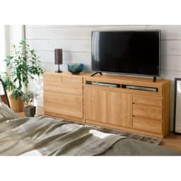 【完成品・国産家具】ベッドルームで大画面シアターシリーズ テレビ台 幅105高さ55cm 色見本(エ)ブラウン 木目調