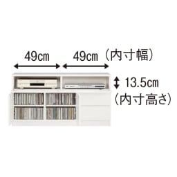 【完成品・国産家具】ベッドルームで大画面シアターシリーズ テレビ台 幅105高さ55cm CDが背表紙を手前にして約240枚(前後2列)収納できます。