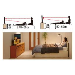 【完成品・国産家具】ベッドルームで大画面シアターシリーズ テレビ台 幅120高さ70cm 2タイプの高さをご用意しました。ベッドの高さに合わせ高さ55cmと高さ70cmから選べます。
