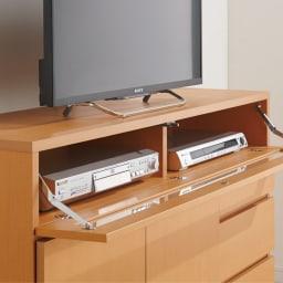 【完成品・国産家具】ベッドルームで大画面シアターシリーズ テレビ台 幅120高さ70cm フラップ扉内はデッキ類を効率よく収納。ホコリも防ぎます。