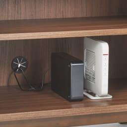 テレワークにも最適! 天然木格子 リビングボードシリーズ PCキャビネット 幅80cm 機器類の収納に便利なコード穴付き。