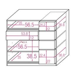 テレワークにも最適 北欧スタイルリビング収納シリーズ PCキャビネット幅90cm 内寸図(単位cm)