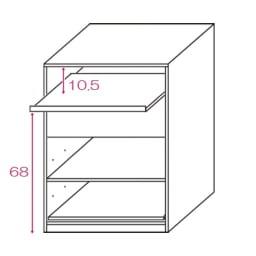 テレワークにも最適 北欧スタイルリビング収納シリーズ PCキャビネット幅90cm 内寸図(単位cm)※イラストは幅60cmタイプ。