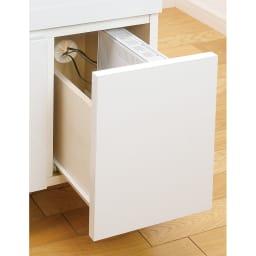 プリンターも置けるオールインワン収納引き出しFAX台 幅45cm 右下引き出しは奥の板が低く、背板には配線用のコード穴付きでPCルーターの収納に便利。