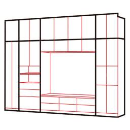 まるで映画館を独り占めの気分!シアター壁面収納 扉 幅60cm 上の写真の商品の組み合わせ