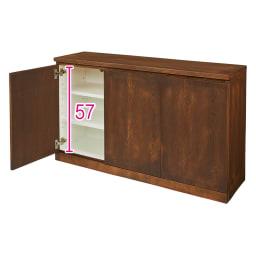 奥行35cm 北海道オーク材のコンパクトシリーズ キャビネット・幅120cm (イ)ブラウン ※赤文字は内寸 (単位:cm)