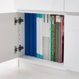 光沢リビングシリーズ キャビネット 4枚扉 扉内はA4ファイルが収納可能です。