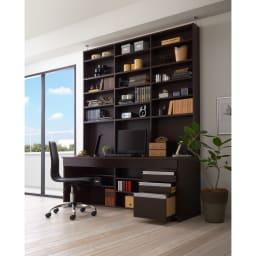 つっぱり壁面収納引き出し付きデスク 幅180・高さ236~249cm【チェスト付き】 (ア)ダークブラウン ※チェアは商品に含まれません。