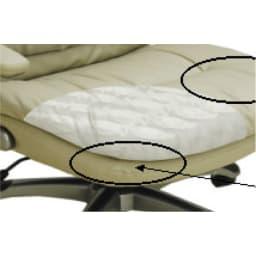 ふんわりソファーのような昇降回転チェアー (ウ)グレー 内側にウレタンフォームやポケットコイルを使い、快適な座り心地。