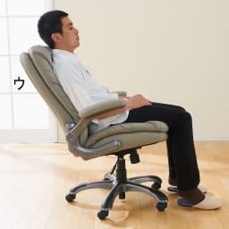 ふんわりソファーのような昇降回転チェアー リクライニング機能でゆったり。男性の背中もしっかりとささえます 写真色は(ウ)グレー